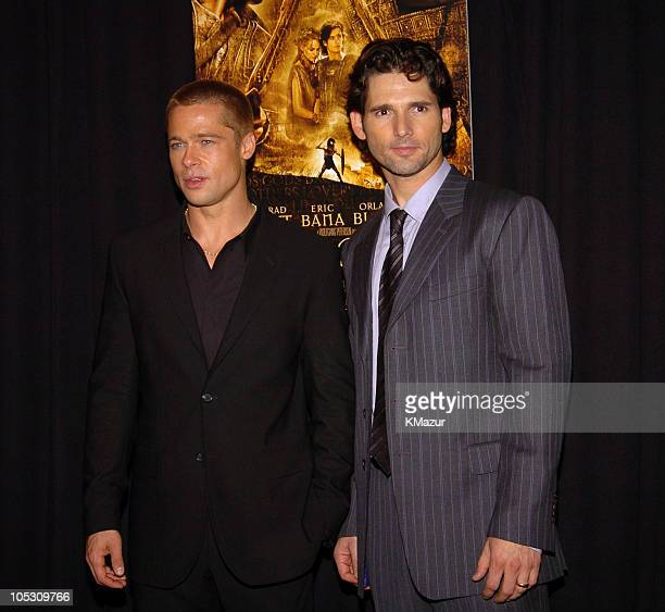Brad Pitt and Eric Bana during Troy New York Premiere Inside Arrivals at Zeigfeld Theater in New York City New York United States