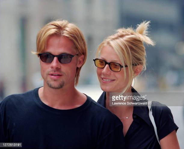 Brad Pitt and Gwyneth Paltrow look beautiful and happy while strolling on Madison Avenue NYC on August 3 1996
