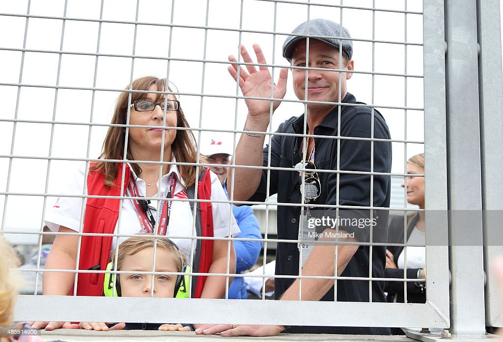Brad Pitt and his son Knox Jolie-Pitt attend the MotoGP British Grand Prix race at Silverstone ahead of the release of documentary Hitting The Apex. Pitt is presenting the film, which is out in cinemas 2nd September and on DVD 7th September at Silverstone Circuit on August 30, 2015 in Northampton, England