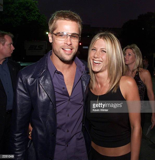 "Brad Pitt and Jennifer Aniston at the premiere of ""Rock Star"" at the Mann Village Theater in Los Angeles, Ca. 9/4/01. Photo by Kevin Winter/Getty..."