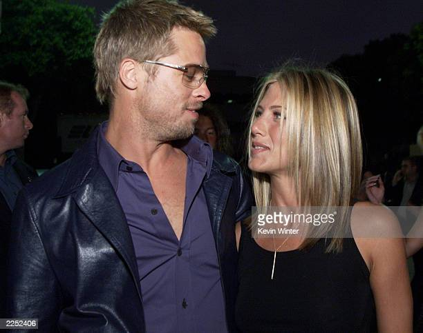 Brad Pitt and Jennifer Aniston at the premiere of Rock Star at the Mann Village Theater in Los Angeles Ca 9/4/01 Photo by Kevin Winter/Getty Images