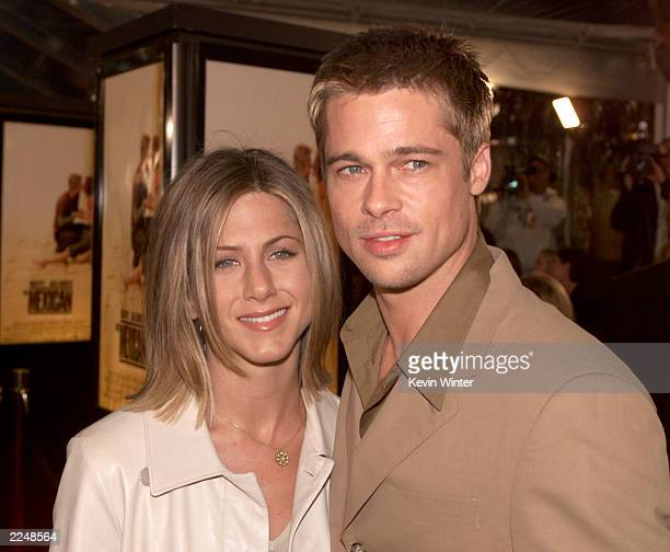 Brad Pitt and Jennifer Aniston at the premiere of 'The Mexican' at the National Theater in Los Angeles, Ca. 2/23/01. .
