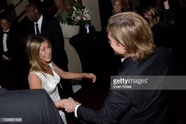 Brad Pitt and Jennifer Aniston attend the 26th Annual Screen Actors Guild Awards at The Shrine Auditorium on January 19, 2020 in Los Angeles,...