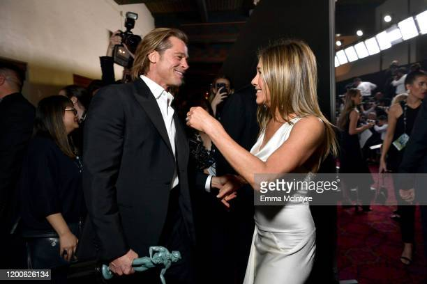 Brad Pitt and Jennifer Aniston attend the 26th Annual Screen Actors Guild Awards at The Shrine Auditorium on January 19 2020 in Los Angeles...