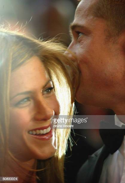 Brad Pitt and Jennifer Aniston attend the World Premiere of epic movie Troy at Le Palais de Festival on May 13 2004 in Cannes France