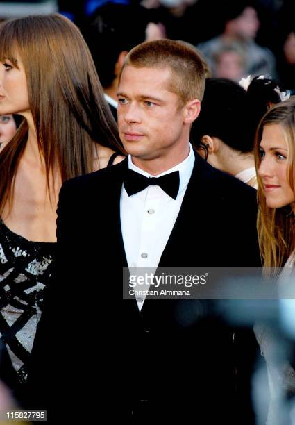 Brad Pitt and Jennifer Aniston during 2004 Cannes Film Festival 'Troy' Premiere at Palais Du Festival in Cannes France