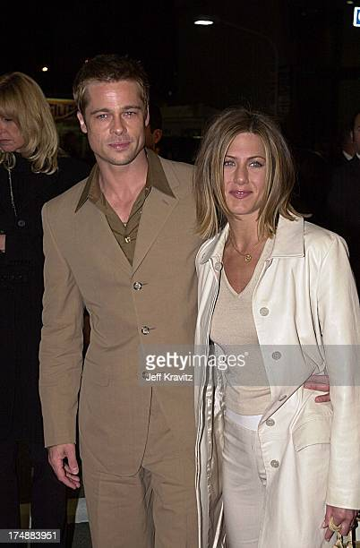 """Brad Pitt and Jennifer Aniston during """"Mexican"""" Premiere in Los Angeles, California, United States."""