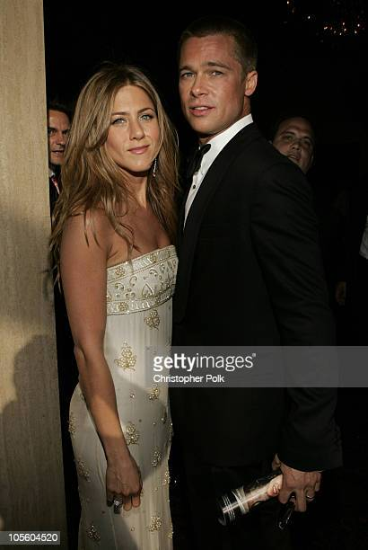 Brad Pitt and Jennifer Aniston during The 56th Annual Primetime Emmy Awards Arrivals at The Shrine Auditorium in Los Angeles California United States