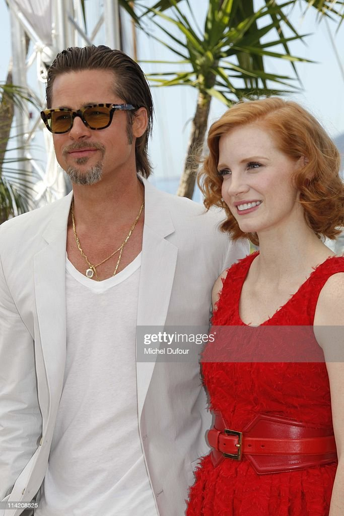 Brad Pitt and Jessica Chastain attend 'The Tree Of Life' photocall during the 64th Annual Cannes Film Festival at Palais des Festivals on May 16, 2011 in Cannes, France.