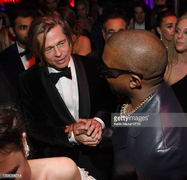 Brad Pitt and Kanye West attend the 2020 Vanity Fair Oscar Party hosted by Radhika Jones at Wallis Annenberg Center for the Performing Arts on...