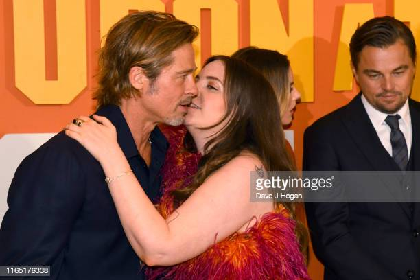 """Brad Pitt and Lena Dunham attend the """"Once Upon a Time... In Hollywood"""" UK Premiere at Odeon Luxe Leicester Square on July 30, 2019 in London,..."""