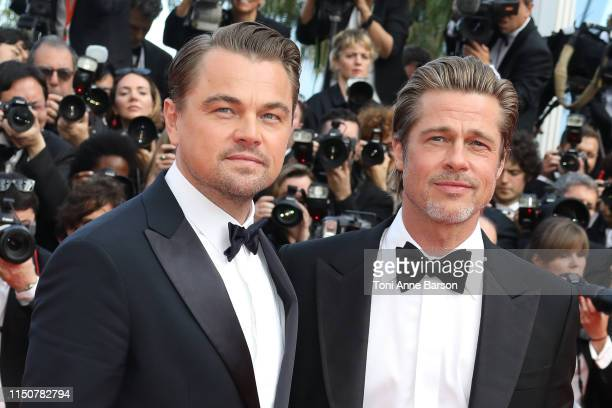 Brad Pitt and Leonardo di Caprio attend the screening of Once Upon A Time In Hollywood during the 72nd annual Cannes Film Festival on May 21 2019 in...