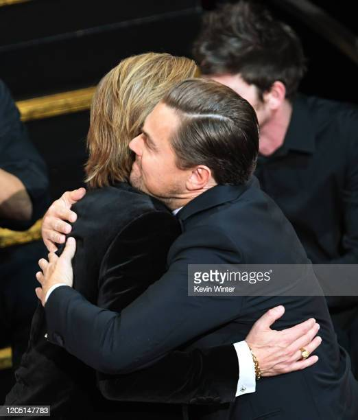Brad Pitt and Leonardo DiCaprio attend the 92nd Annual Academy Awards at Dolby Theatre on February 09 2020 in Hollywood California
