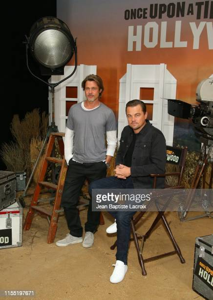 """Brad Pitt and Leonardo DiCaprio attend the photo call for Columbia Pictures' """"Once Upon A Time In Hollywood"""" at Four Seasons Hotel Los Angeles at..."""