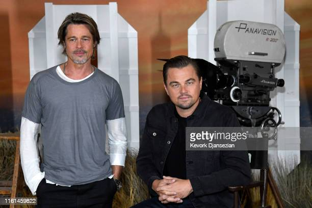Brad Pitt and Leonardo DiCaprio attend the photo call for Columbia Pictures' Once Upon A Time In Hollywood at Four Seasons Hotel Los Angeles at...