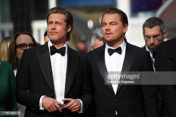 """Brad Pitt and Leonardo DiCaprio attend the screening of """"Once Upon A Time In Hollywood"""" during the 72nd annual Cannes Film Festival on May 21, 2019..."""