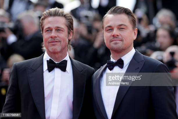 Brad Pitt and Leonardo DiCaprio attend the screening of Once Upon A Time In Hollywood during the 72nd annual Cannes Film Festival on May 21 2019 in...