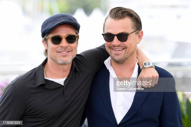 Brad Pitt and Leonardo DiCaprio attend the photocall for Once Upon A Time In Hollywood during the 72nd annual Cannes Film Festival on May 22 2019 in...