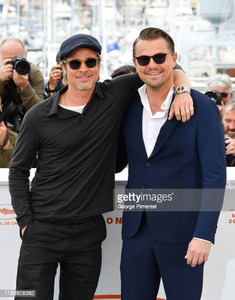 """Brad Pitt and Leonardo DiCaprio attend thephotocall for """"Once Upon A Time In Hollywood"""" during the 72nd annual Cannes Film Festival on May 22, 2019..."""