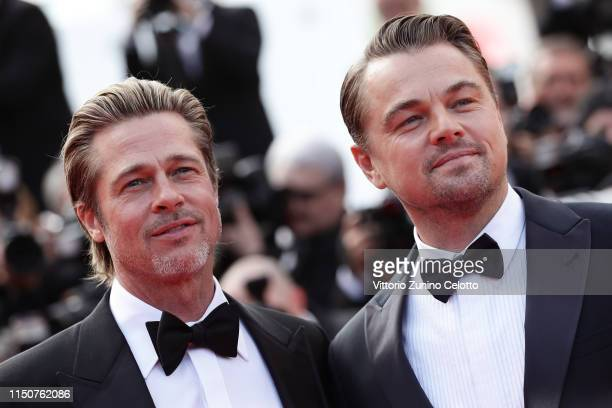 Brad Pitt and Leonardo DiCaprio attends the screening of Once Upon A Time In Hollywood during the 72nd annual Cannes Film Festival on May 21 2019 in...