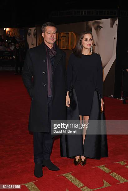 Brad Pitt and Marion Cotillard attend the UK Premiere of Allied at Odeon Leicester Square on November 21 2016 in London England