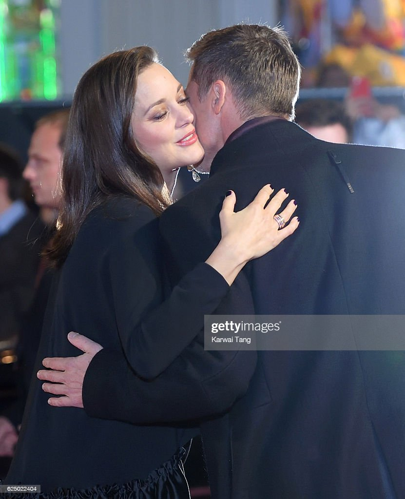 Brad Pitt and Marion Cotillard attend the UK Premiere of 'Allied' at Odeon Leicester Square on November 21, 2016 in London, England.