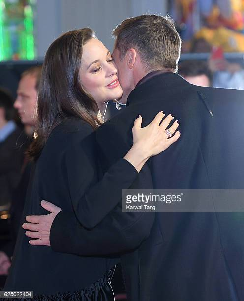 Brad Pitt and Marion Cotillard attend the UK Premiere of 'Allied' at Odeon Leicester Square on November 21 2016 in London England