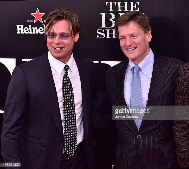 Brad Pitt and Michael Lewis attend 'The Big Short' New York Premiere at Ziegfeld Theater on November 23 2015 in New York City