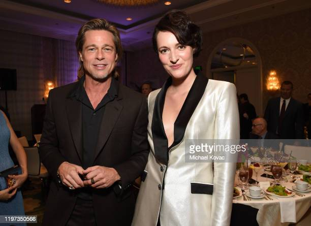 Brad Pitt and Phoebe Waller-Bridge attend the 20th Annual AFI Awards at Four Seasons Hotel Los Angeles at Beverly Hills on January 03, 2020 in Los...