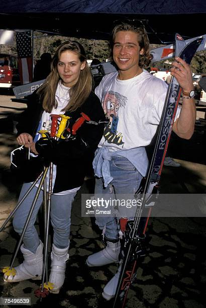 Brad Pitt and Shalane McCall at the Mountain High Ski Area in Wrightwood CA