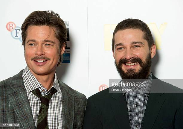Brad Pitt and Shia LeBeouf attend the photocall for 'Fury' during the 58th BFI London Film Festival at The Corinthia Hotel on October 19 2014 in...