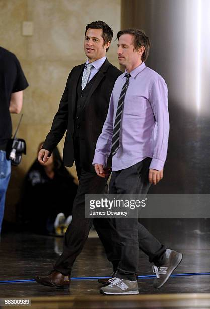 Brad Pitt and Spike Jonez film a Softbank commercial in Midtown Manhattan on April 29 2009 in New York City