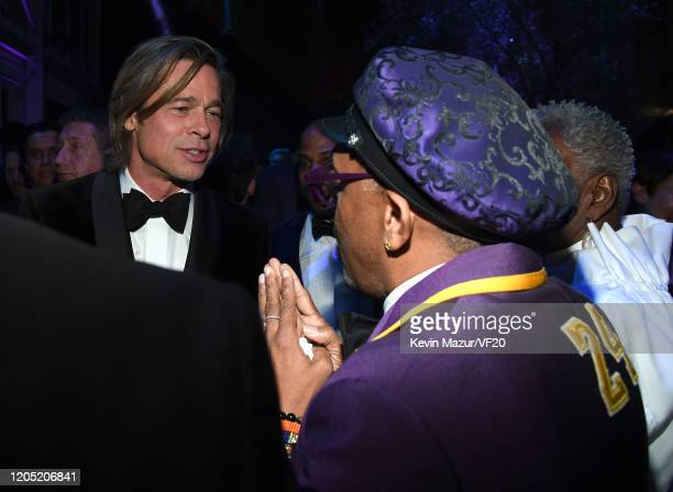 Brad Pitt and Spike Lee attend the 2020 Vanity Fair Oscar Party hosted by Radhika Jones at Wallis Annenberg Center for the Performing Arts on...