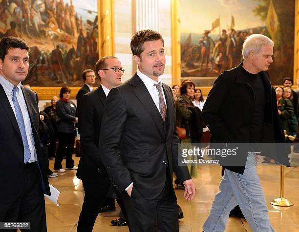 Brad Pitt and Steve Bing arrive to discuss the Make it Right project in the Speaker's Balcony Hallway in the Capitol Building on March 5 2009 in...