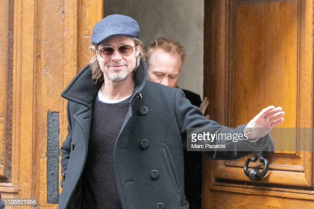 Brad Pitt and Thomas Houseago are seen on March 13, 2019 in Paris, France.