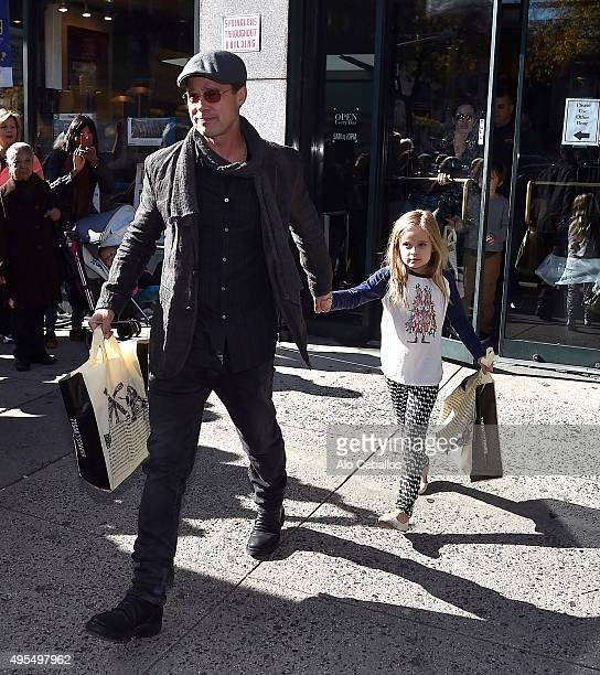 Brad Pitt and Vivienne Marcheline JoliePitt are seen in the Upper West Side on November 3 2015 in New York City