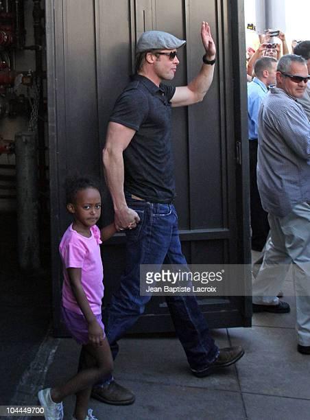 Brad Pitt and Zahara JoliePitt are seen shopping at American Girl on September 25 2010 in Los Angeles California