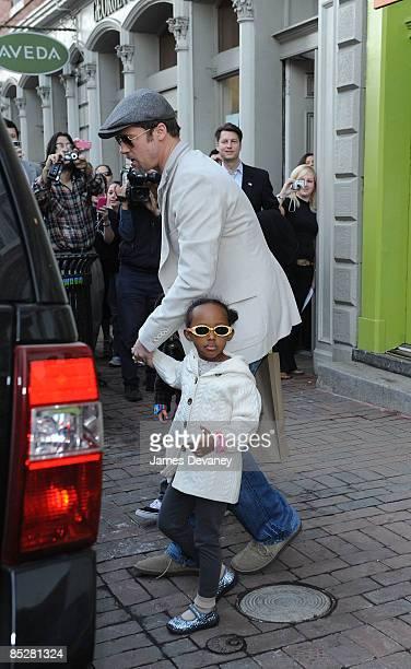 Brad Pitt and Zahara JoliePitt seen leaving Tugooh toy store in Washington DC on March 6 2009