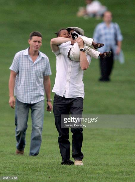Brad Pitt and Zahara JoliePitt visit Central Park in New York City on August 28 2007