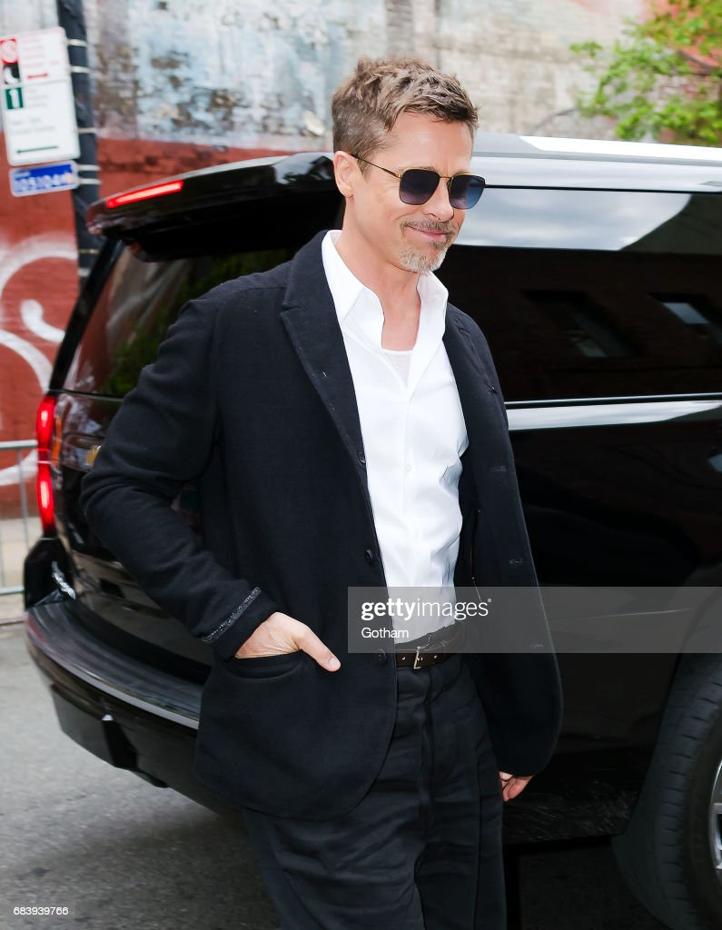 Brad Pitt arrives at a Netflix event on May 16, 2017 in New