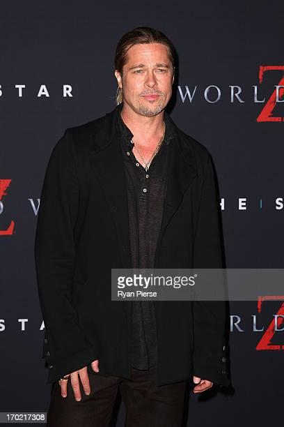 """Brad Pitt arrives at the """"World War Z"""" Australian Premiere at the Star on June 9, 2013 in Sydney, Australia."""