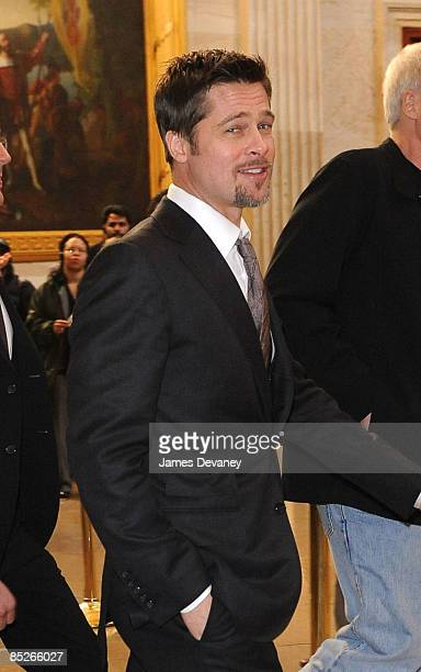 Brad Pitt arrives to discuss the Make it Right project in the Speaker's Balcony Hallway in the Capitol Building on March 5 2009 in Washington DC