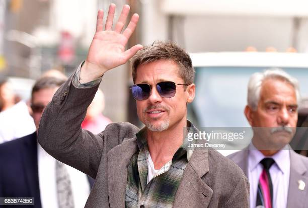 Brad Pitt arrives to the 'The Late Show With Stephen Colbert' at the Ed Sullivan Theater on May 16 2017 in New York City