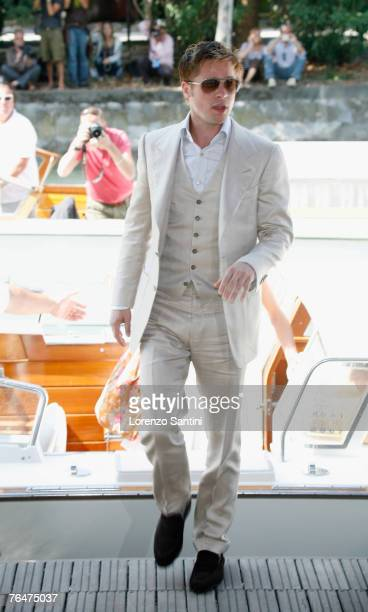 """Brad Pitt arriving by boat at the Palazzo del Casino for the """"The Assassination of Jesse James by the Coward Robert Ford"""" Press Conference"""