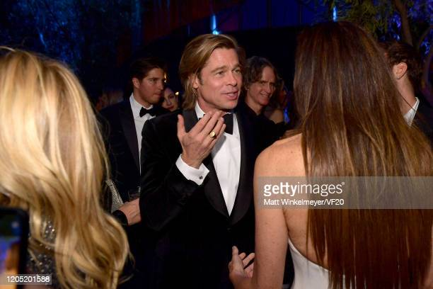 Brad Pitt attends the 2020 Vanity Fair Oscar Party hosted by Radhika Jones at Wallis Annenberg Center for the Performing Arts on February 09 2020 in...
