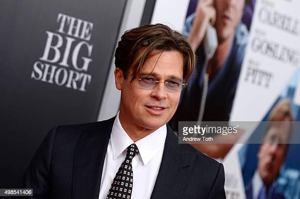 Brad Pitt attends The Big Short New York premiere at Ziegfeld Theater on November 23 2015 in New York City