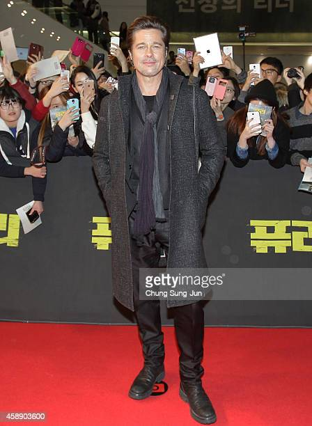 Brad Pitt attends the 'Fury' Premiere at Time Square on November 13 2014 in Seoul South Korea