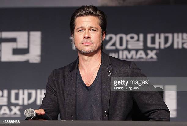 Brad Pitt attends the 'Fury' Press Conference at Conrad Hotel on November 13 2014 in Seoul South Korea