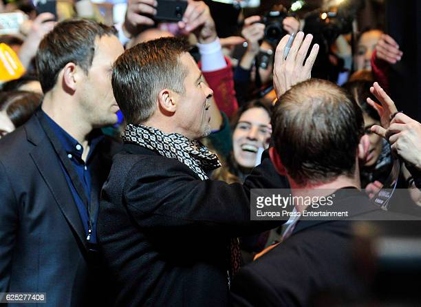 Brad Pitt attends the Madrid Premiere of 'Allied' at Callao City Lights on November 22 2016 in Madrid Spain