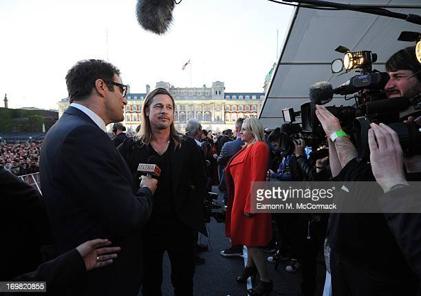 Brad Pitt attends the Muse performance at the 'World War Z' World Premiere at Horse Guards Parade on June 2, 2013 in London, England.